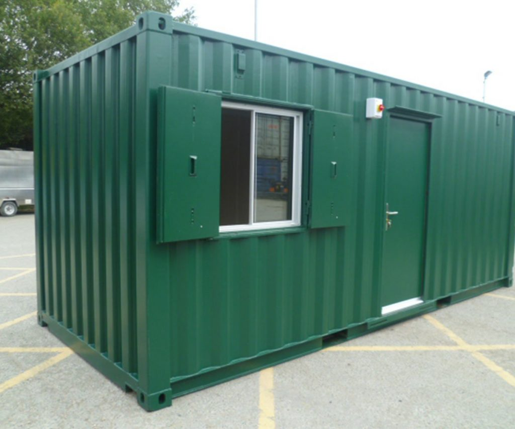 Image of a shipping container design showing benefits of shipping containers