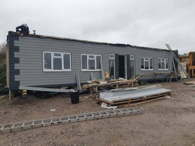 50 by 13ft being insulated and clad on exterior by our customer_